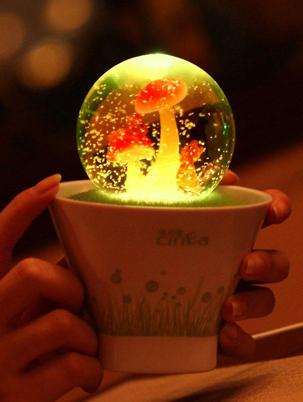 Color Changing USB Glass Ball Bonsai LED Night Light - WHITE