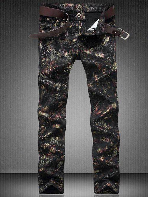 Zipper Fly Straight Leg Printed Jeans - BLACK 29