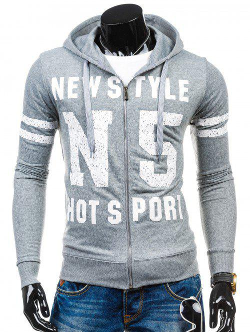 Letter Print Long Sleeves Zip Up Hoodie - LIGHT GRAY M