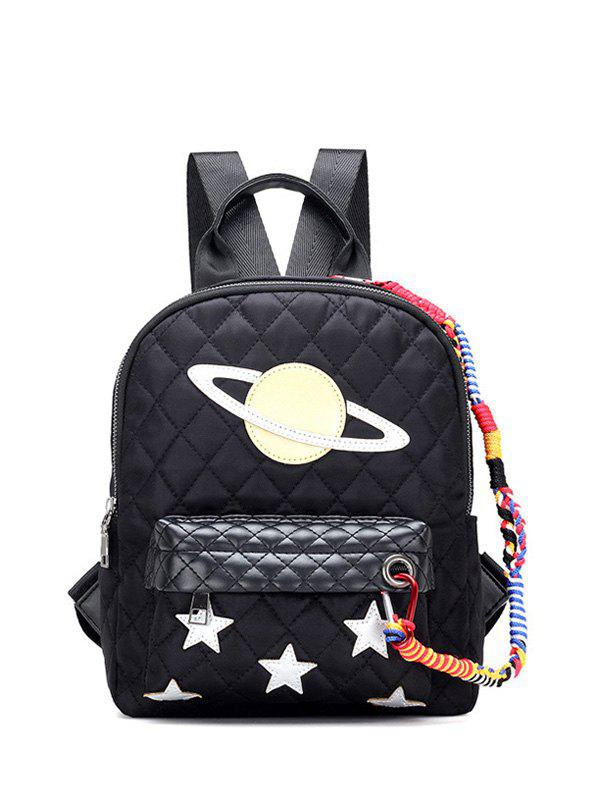 Star Pattern Stitching Argyle Backpack - BLACK