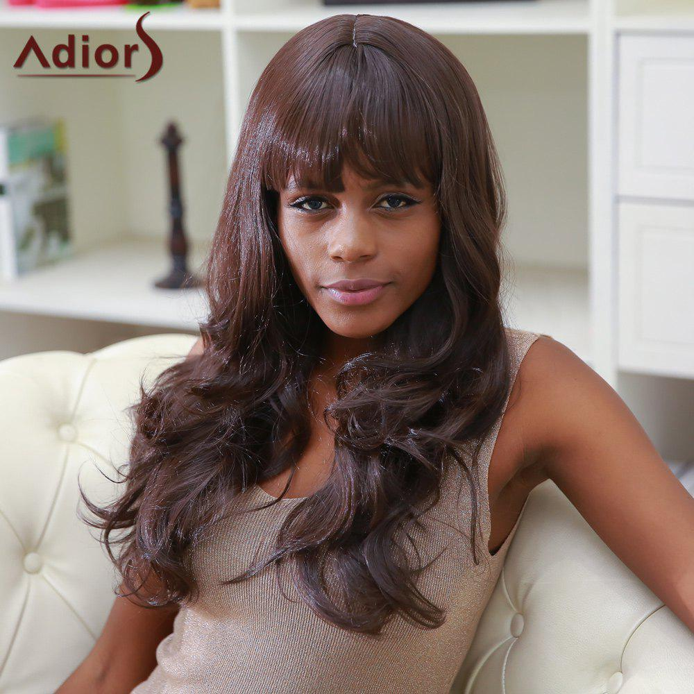 Color Mixed Adiors Full Bang Long Fluffy Wavy Synthetic Wig - COLORMIX