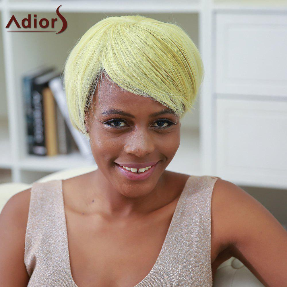 Short Straight Side Bang Color Mixed Synthetic Wig