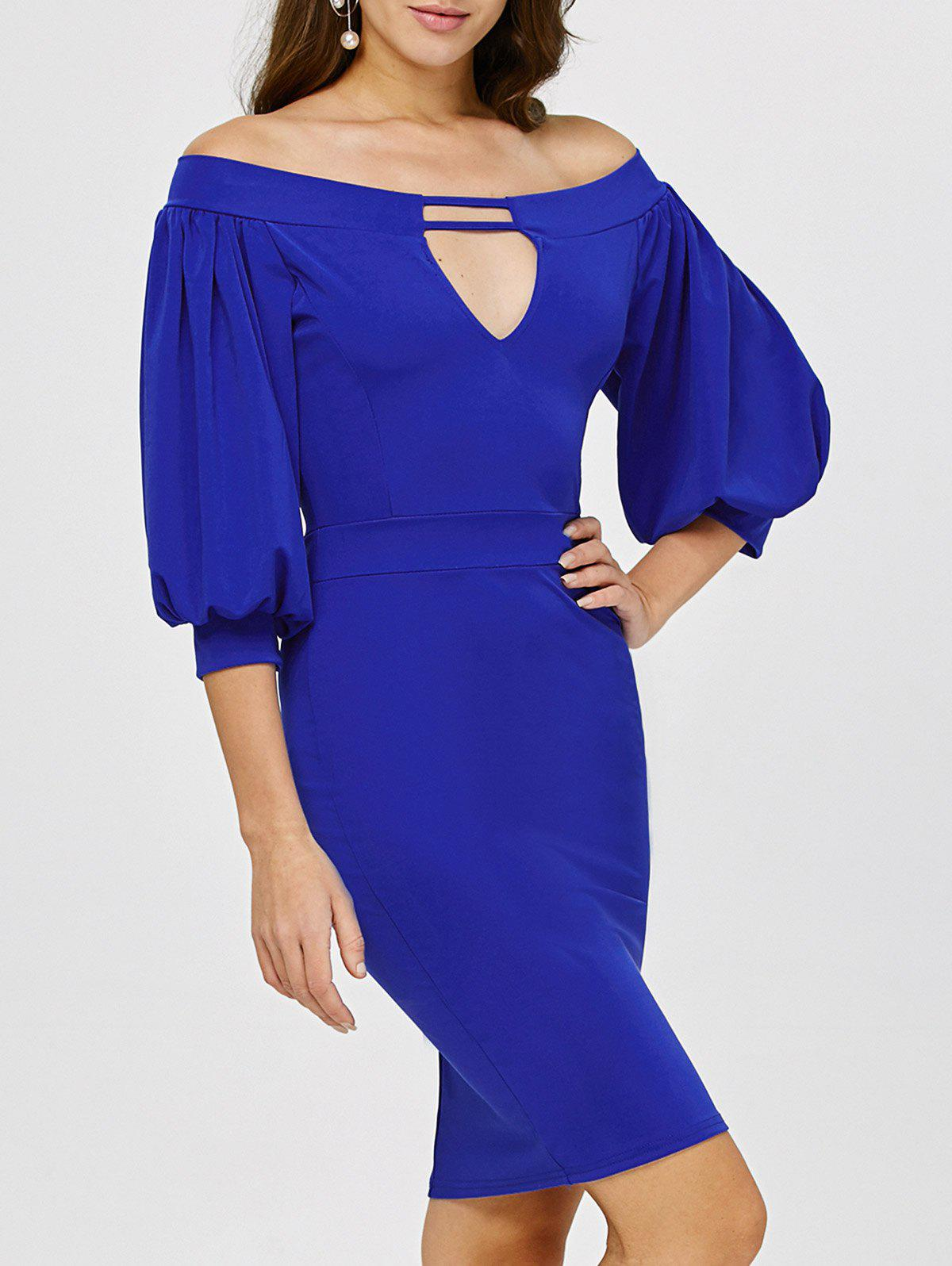 Off The Shoulder Puff Sleeves Bodycon DressWomen<br><br><br>Size: S<br>Color: ROYAL
