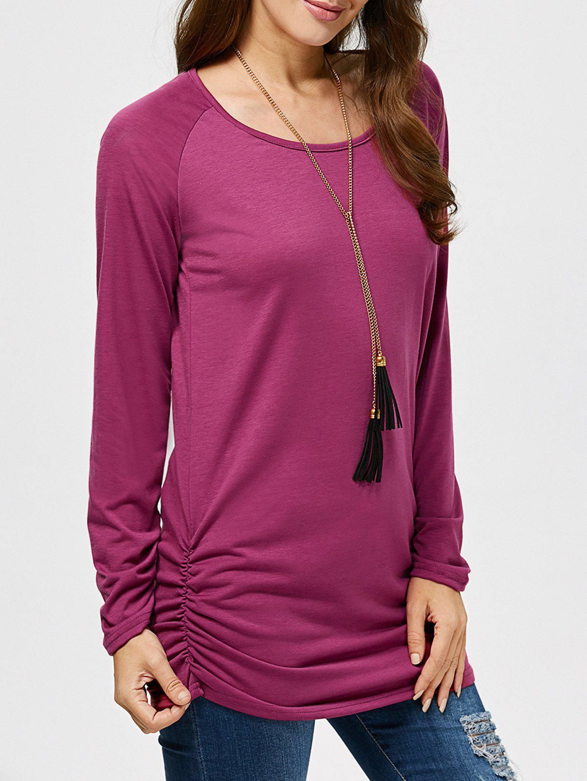 Ruched Long Sleeves Tunic T-Shirt - PURPLISH RED S