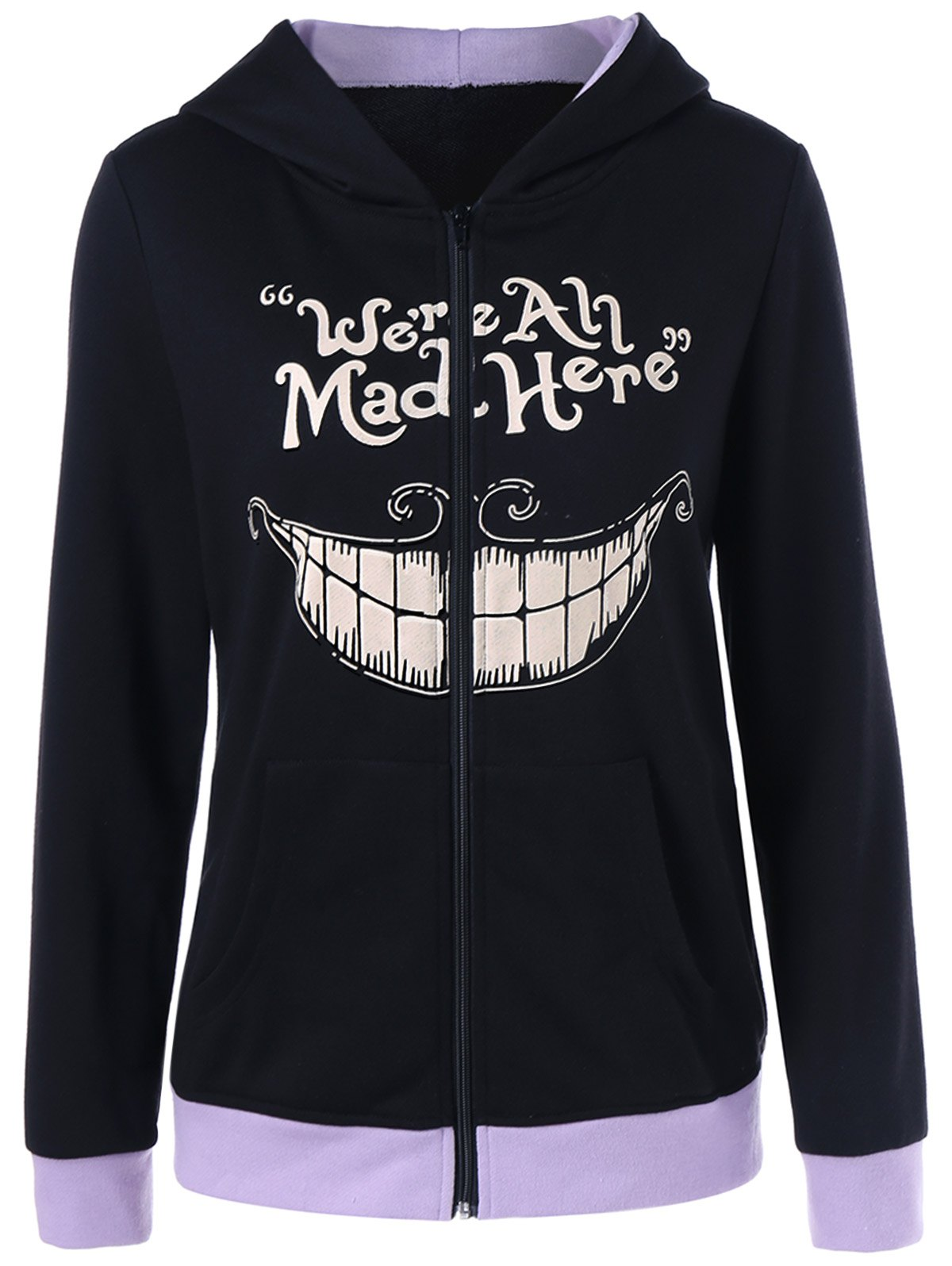 We Are All Mad Here Print Hoodie - BLACK L