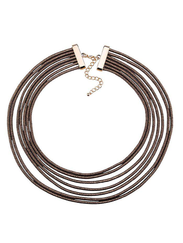 Layered Artificial Leather Rope Choker Necklace - COFFEE