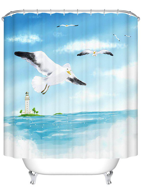 Sea Gull Polyester Waterproof Bathroom Shower Curtain - LIGHT BLUE 200CM*200CM