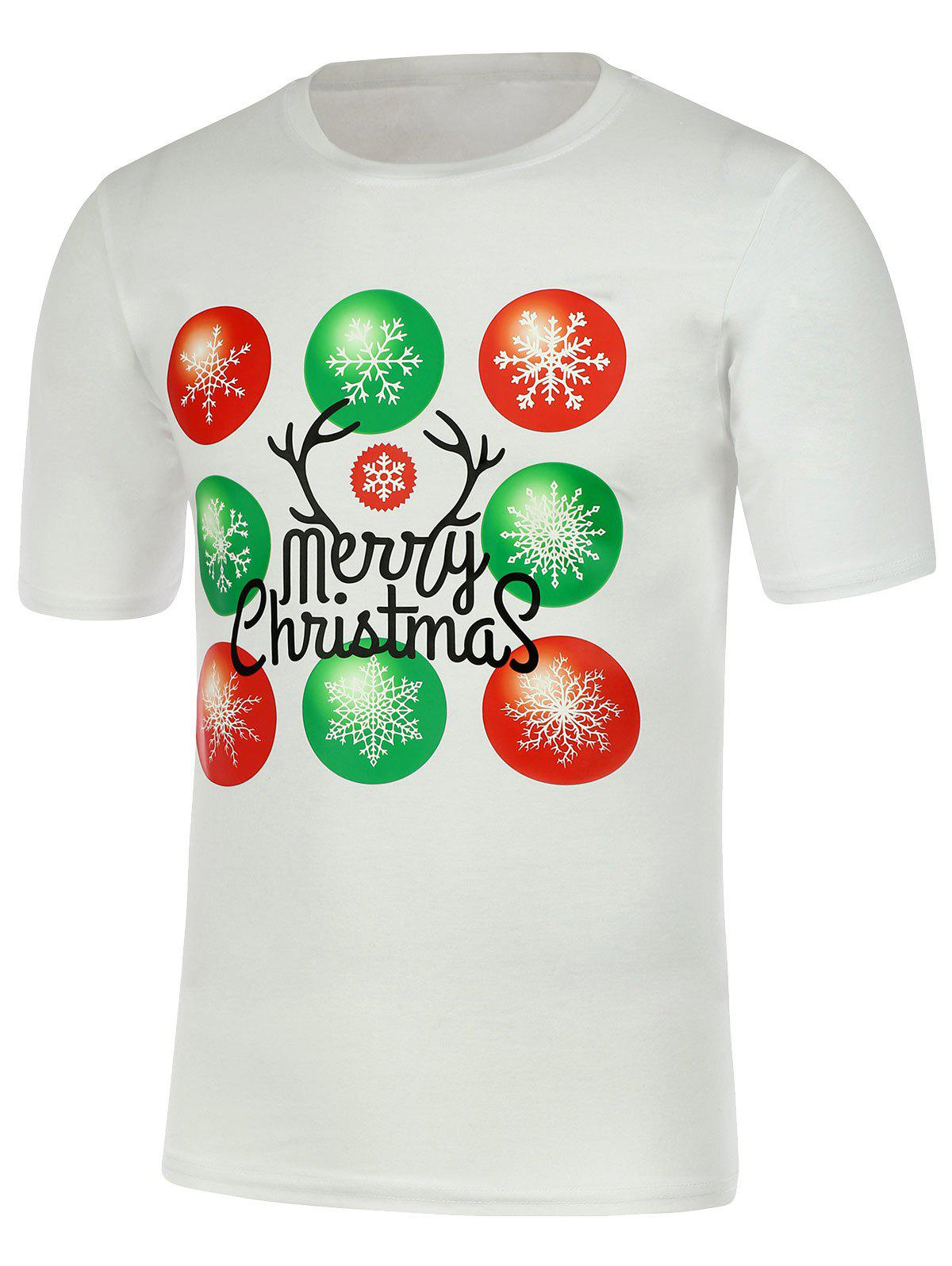 Short Sleeve Snowflake Print Christmas T-Shirt - WHITE 2XL