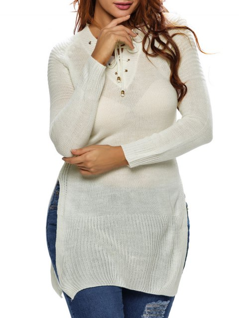 17% OFF  2019 Long Side Slit Lace-Up Long Sweater In WHITE ONE SIZE ... 07f396d1a