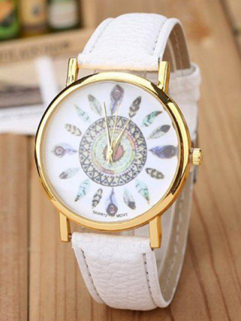 Faux Leather Feather Quartz Watch - WHITE