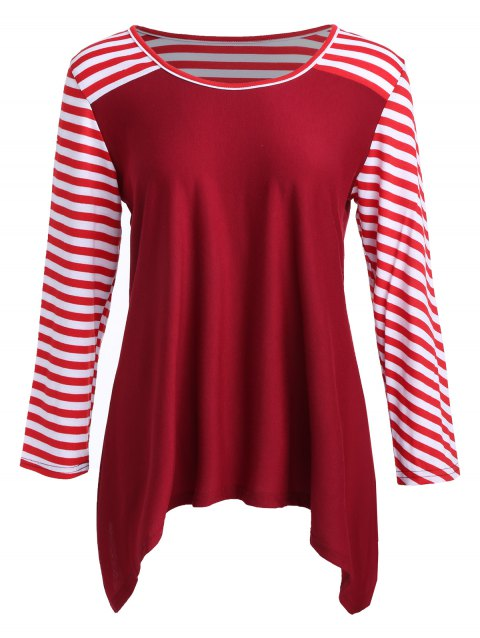 Plus Size Striped Asymmetric Color Block T-Shirt - RED XL