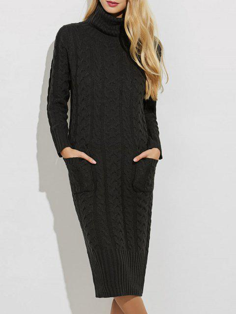 Slit Turtleneck Cable Knit Midi Sweater Dress - BLACK ONE SIZE