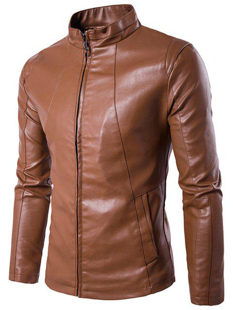 Stand Collar PU Leather Zipper Design Jacket - BROWN L