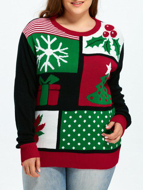 7869e0f3f01 Christmas Tree Snowflake Pattern Cute Plus Size Sweater - COLORMIX 2XL