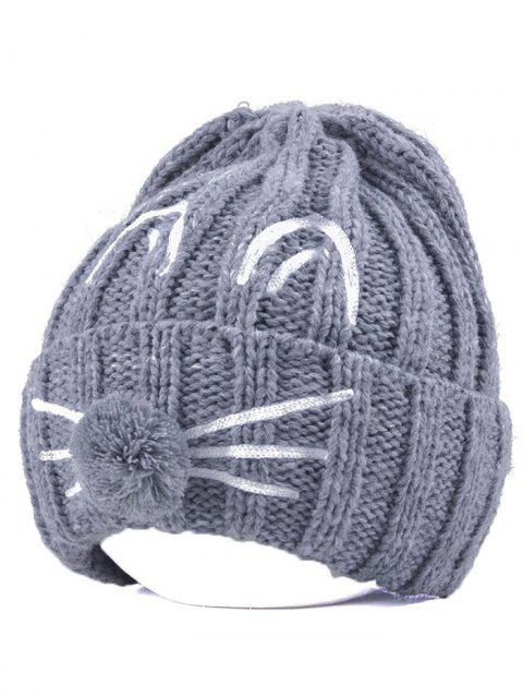 Pom Ball Cat Face Beanie Hat - GRAY