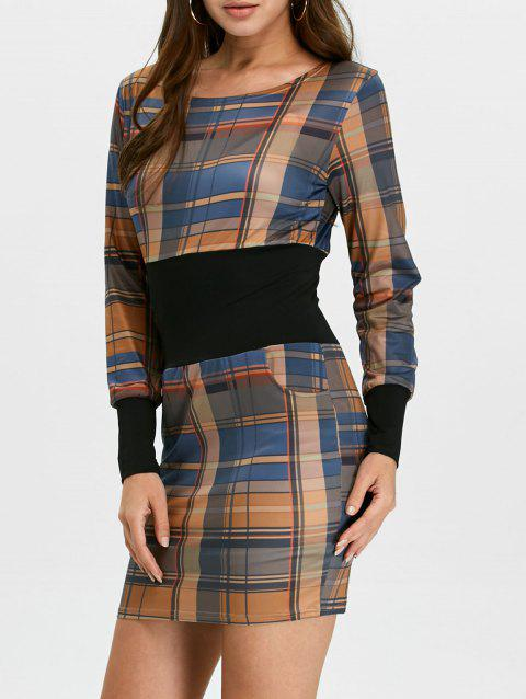 f760b50d244b LIMITED OFFER  2019 Plaid Long Sleeve Mini Bodycon Dress In BROWN M ...