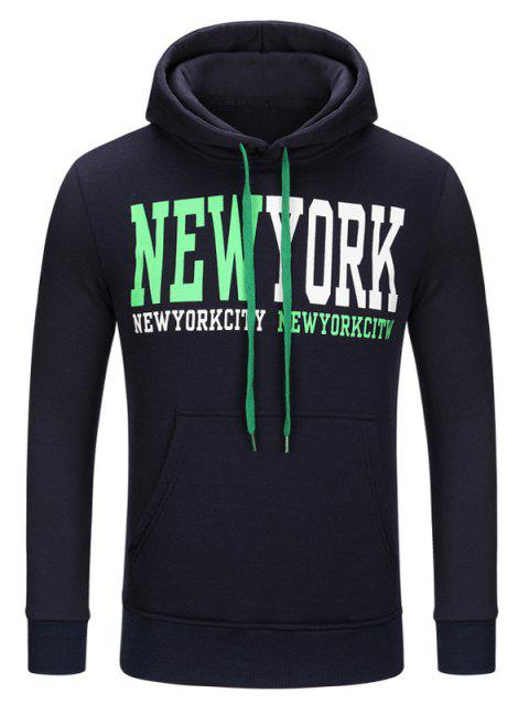 Kangaroo Pocket New York Print Drawstring Hoodie - PURPLISH BLUE M