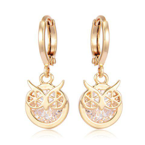 Rhinestone Owl Circle Drop Earrings - GOLDEN