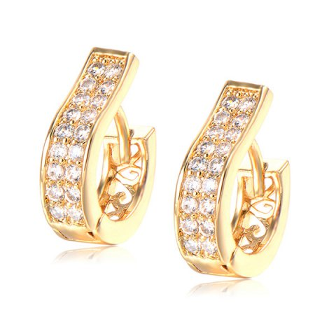 Alloy Rhinestone Hoop Earrings - GOLDEN