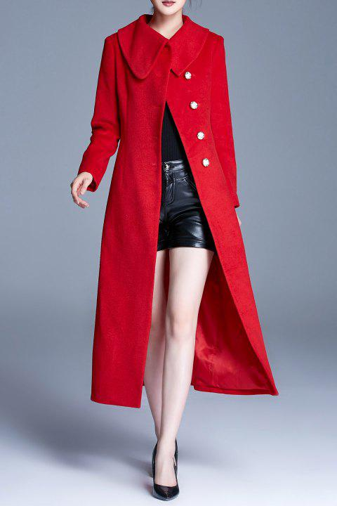 Single Breasted Coat with Pockets - RED 2XL