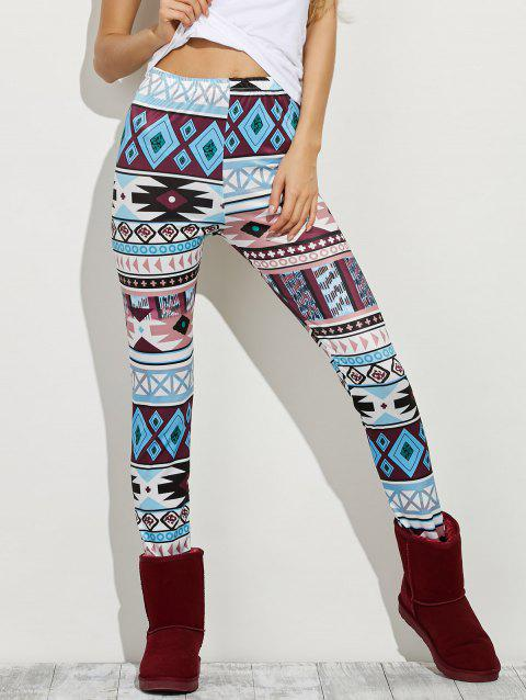 High Waist Geometric Skinny Aztec Print Leggings - COLORMIX S