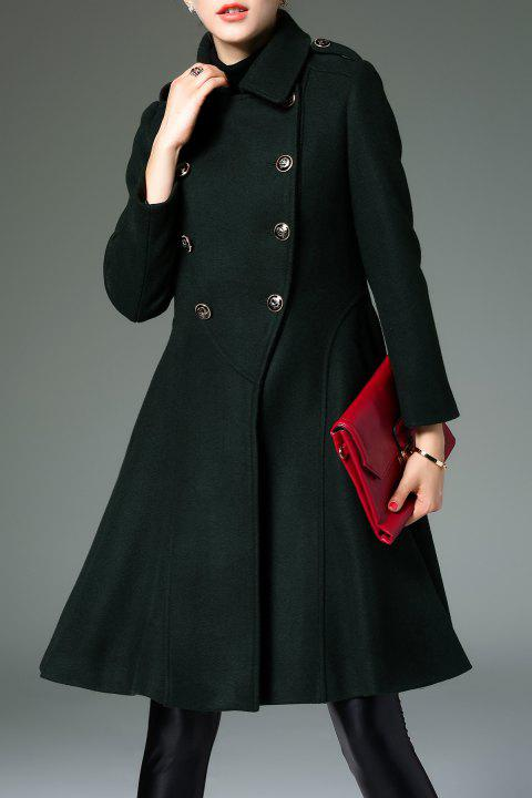 Skirted Coat In Wool Blend - ARMY GREEN S