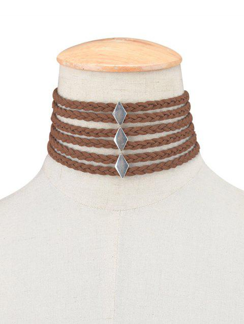 Layered Braid Rope Choker Necklace - BROWN