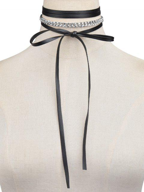Layered Chain Bowknot Tie Necklace - SILVER