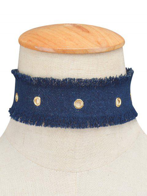 Jeans Fringe Wide Choker Necklace - DEEP BLUE