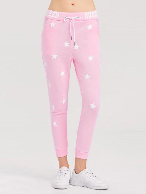 Skinny Star Print Sports Pants - PINK L