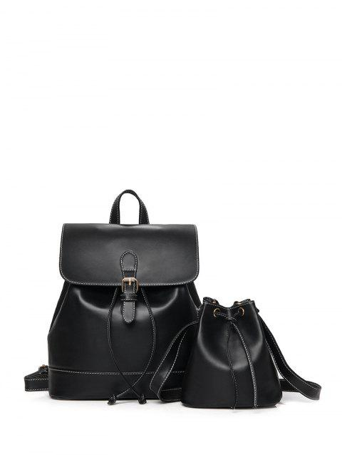 Buckle PU Leather Backpack With Crossbody Bag - BLACK