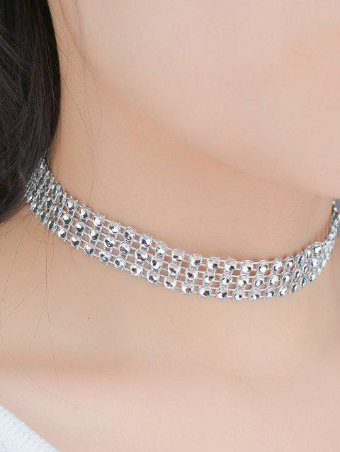 Triple Layered Plastic Beading Choker Necklace - SILVER
