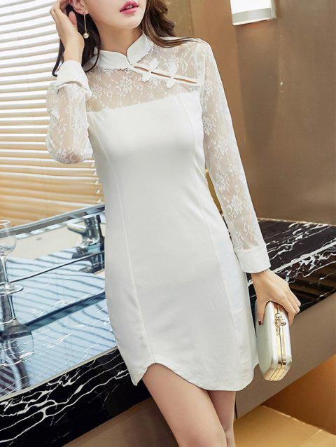 Floral Lace Insert Frog Button Dress - WHITE L