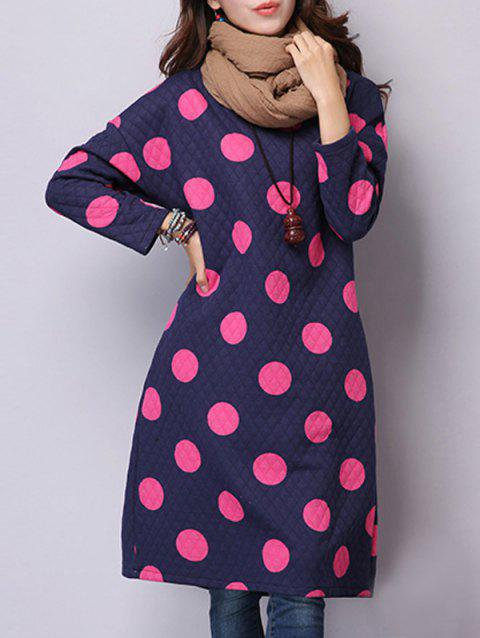Polka Dot Dress with Pockets - ROSE RED M