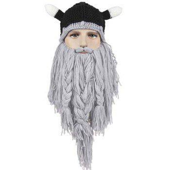 Stylish Animal Ear Shape and Beard Braid Tassel Embellished Men's Knitted Hat
