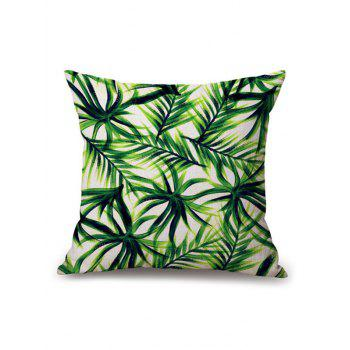 Palm Leaf Printed Linen Chair Backrest Throw Pillowcase
