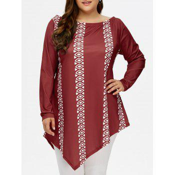 Plus Size Long Sleeve Geometric Asymmetric Tee