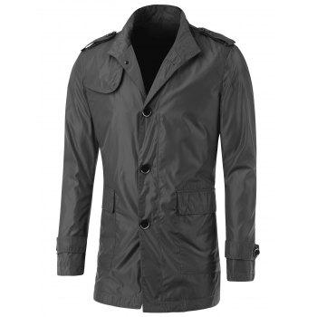 Button Up Turn-Down Collar Epaulet Design Jacket - DEEP GRAY M