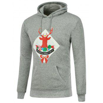 Hooded Christmas Deer Print Long Sleeve Hoodie