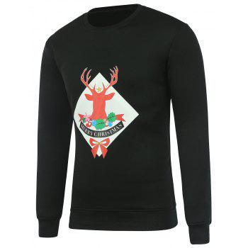 Crew Neck Christmas Deer Print Long Sleeve Sweatshirt