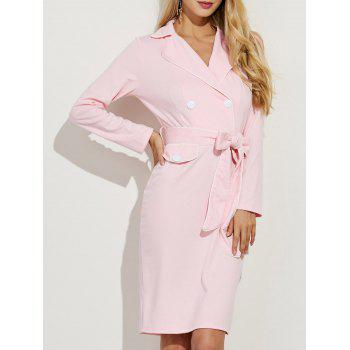 Long Sleeve Tuxedo Dress With Belt