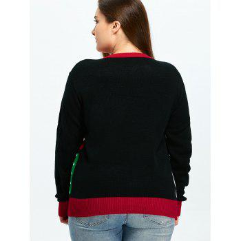 Christmas Tree Snowflake Pattern Cute Plus Size Sweater - COLORMIX 2XL