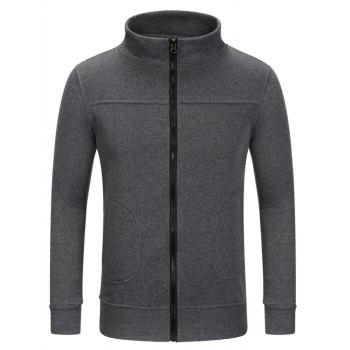 Zipper Up Stand Collar Sweat Jacket