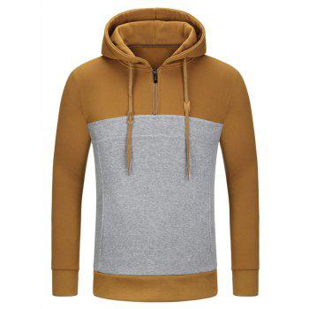 Half Zipper Color Block Pullover Hoodie