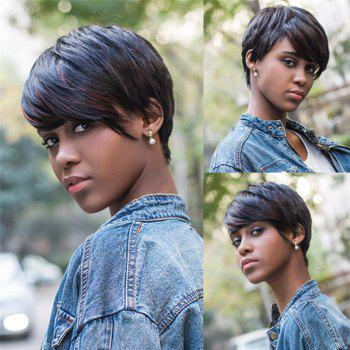Fashion Mixed Color Synthetic Short Pixie Cut Straight Capless Wig For Women