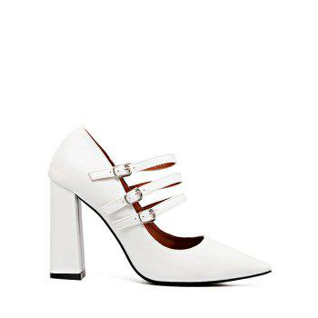 Chunky Heel Buckles Pointed Toe Pumps
