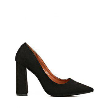 Pointed Toe Chunky Heel Suede Pumps