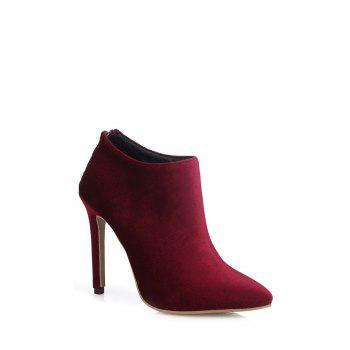 Zipper Pointed Toe Stiletto Heel Ankle Boots - 39 39