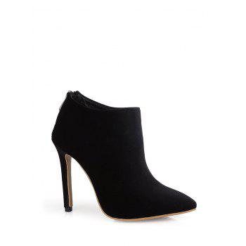 Zipper Pointed Toe Stiletto Heel Ankle Boots