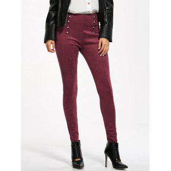 High Waisted Double Breasted Skinny Suede Pants
